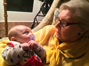 Simon gazes at his elegant great-Granny.