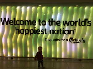 The CPH airport welcome sign made us feel pretty good about our extensive vacation research.